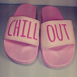 Slides pink chill out Embroidery on them